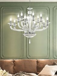 Suspended Lights Modern Metal And White Glass Chrome