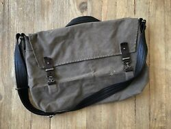 """Rough And Tumble 1909 Waxed Cotton And Leather Messenger 15"""" Laptop Bag $125.00"""