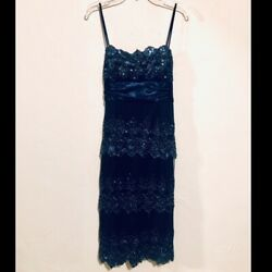 Masquerade Navy Scalloped Sequined Dress. Size 4