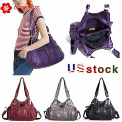 ANGELKISS Brand Womens  Soft Washed  Leather Brand Satchel Weave Shoulder Bag