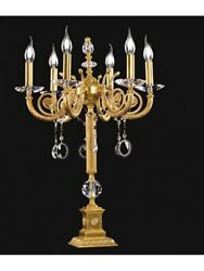 Light Table Lamp Flambeau Classic Brass And Crystal Tp 142-fl-6-01