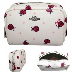 Coach Cosmetic Case Bag Mini Boxy Jewelry Pouch Red Ladybug Hearts 2492 $52.95