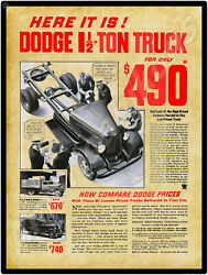 1934 Dodge Brothers Trucks New Metal Sign Panel And Stakebed Models Pictured