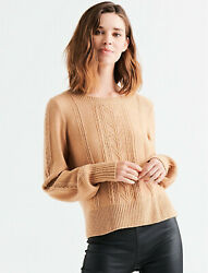 Lucky Brand Cable Stitch Pullover Scoopneck Tan Light Brown Camel Sweater Sz S