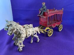 Antique Kenton Co Cast Iron Toy Overland Circus Horses Cage Wagon And Driver 4193
