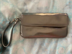Victoria Secret Metallic Silver Clutch Wristlet Bag $11.99