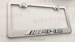 3d Mercedes Benz Amg Stainless Steel Chrome Finished License Plate Frame