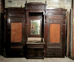 Antique Carved Oak Closet Front Built In Butlers Pantry Linen Cabinet Salvage