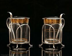Rare Pair Of Hukin And Heath Solid Silver And Gilt Glass Toddy Cups London 1907