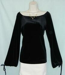 Newport News Black Velour Boat-neck Tie Cuff Flare Sleeve Peasant Blouse M New