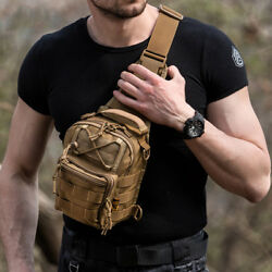 Tactical Military Crossbody Mens Shoulder Bag Chest Pack Camping Hiking Backpack $18.99
