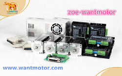Us Free 4axis Wantai Stepper Motor Nema23 57bygh627 270oz-in 3a 4-lead Anddriver