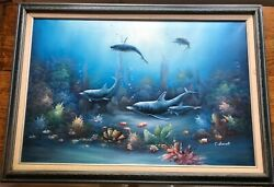 Original C. Benolt Textured Oil On Canvas 3d Sea Life Painting. Signed And Framed.
