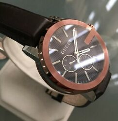 Mens Genuine G-chrono Xl Ya101202 Swiss Designer Watch Copper Leather