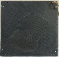 Stone Slate Carved Plaque Indian Chief Circa 1900