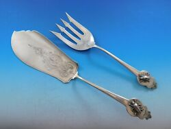 Art Silver By Gorham Coin Sterling Silver Fish Serving Set With Applied Bug 12