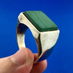 Vintage Taxco Mexico Th-107 Sterling Silver Malachite Men's Statement Dome Ring