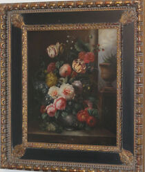 Elegant Still Life With Flowers Oil Painting Signed B. Edage And Framed