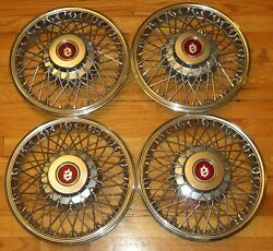 Oldsmobile Olds 1980's 13 Inch Wire Wheel Covers Hubcap Hub Caps Set Fwd