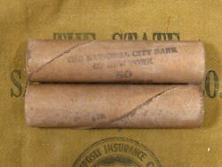 ONE National City Bank NY Indian Head Penny Roll 50 Cents 1859 1909