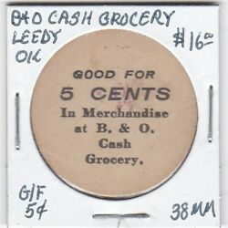 Token - Leedy Ok - B And O Cash Grocery - G/f 5 Cents - 38 Mm