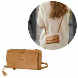 Leather Clutch Wallet Crossbody Purse with Dedicated Phone Slot Brown $22.00