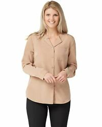 Denim And Co. Womens Plus Woven Wing Collar Button Front Blouse M Mocha A350035