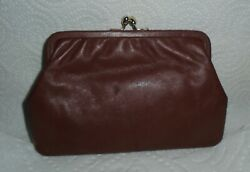 Vintage Brown Genuine Leather Clutch Evening Purse Made In Italy Free Shipping $15.95