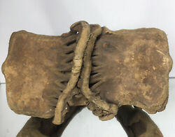 Rare 19th Century Native American Horse Stirrup Rawhide Leather And Wood Museum