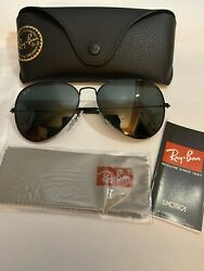 Ray Ban RB3025 Large Aviator 002 62 58 14 3N Sunglasses Black Frames Authentic $59.99