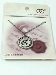 Heirloom Necklace Letter S Initial Sliver Tone 18 New