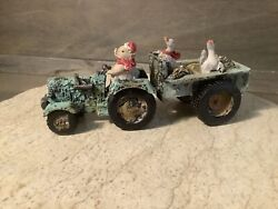 Pig And039n Tractor Farm Decor Chickens Cold Cast Ceramic Country Animals New