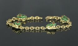 5500 Hidalgo 18k Yellow Gold Red Green Enamel Frog 7and039and039 Lobster Clasp Bracelet