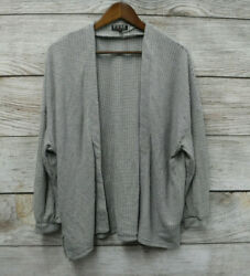 Poof Open Front Cardigan Womens Large Grey & White Striped 34 Sleeve New