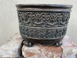 Bombay Indoor Outdoor French Inspired rustic Planter With Lion Feet Legs