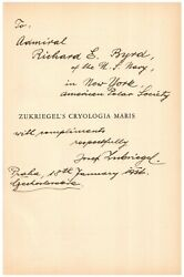 Volume Personally Owned By Richard E. Byrd - W/ Inscription From Author To Byrd