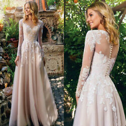 White Wedding Dresses Lace Appliques Chiffon Long Sleeve Bridal Gown Custom Made $160.19