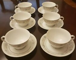 Vintage English Garden Fine China Japan Cup And Saucers, 1221, Set Of 6.