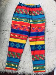 80and039s/90and039s Vintage Cotton Print High Waist Leggings Pants Deadstock Medium