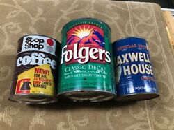 3- Maxwell House-folgers-stop  Coffee Tin Steel Vintage No Lid One Reg Grind