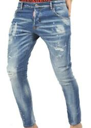 5039 dsquared2 mens light blue jeans new patches dsquared2 model made in italy