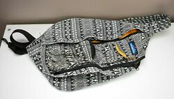 KAVU Knitty Gritty Sling Backpack With Yellow Interior Geometric Aztec Design