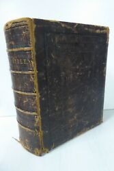 Antique Leather Bound Cassells Family Bible Colour Plates Engravings Large Book
