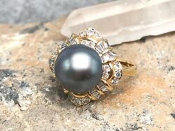 18k Yellow Gold Pearl And Diamond Ring Size 8.25 091605501