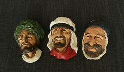 Lot Of Chalkware Face Masks Of Middle Eastern Arabs Types, Vintage Art - 1970's