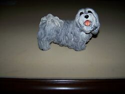 Vintage Whiskers 1980's Resin Lhasa Apso Dog Figurine By Martha Carey