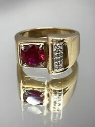 Vintage 14k Yellow Gold Mens Diamond And Synthetic Ruby Ring Heavy 12.8 Grams