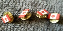Lot Of 4 Vintage Canadian Flag Lapel Pin Tie Tack Maple Leaf Ou2 Canada