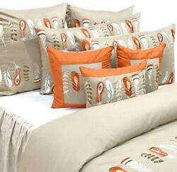 King/queen/twin Beige Cotton Duvet Cover Embroidery - Beige Feather Embroidery