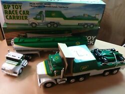 Vintage Bp Toy Tanker Truck And Toy Race Car Carrier In Original Boxes